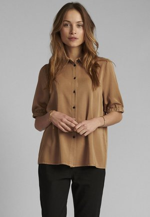 Button-down blouse - tannin