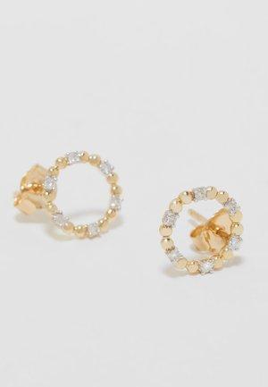 9KT YELLOW GOLD 0.12CT CERTIFIED DIAMOND CIRCLE EARRINGS - Earrings - gold