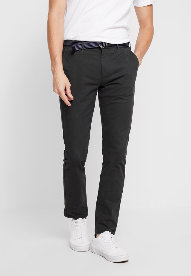 STUART WITH BELT IN STRETCH - Pantalones chinos - charcoal
