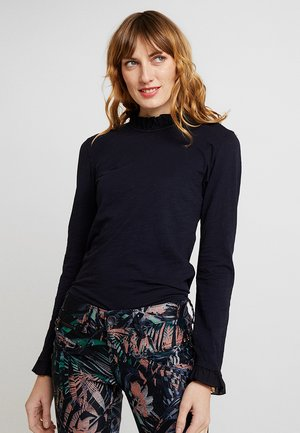 SLUB FRILL - Long sleeved top - deep blue
