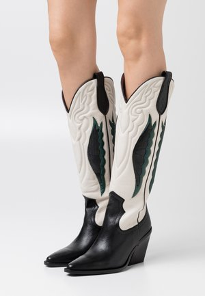NEW KOLE - High heeled boots - black/offwhite/emerald green