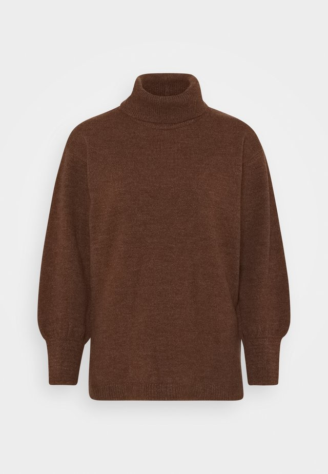 Long line turtle neck - Trui - brown
