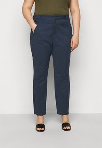 Vero Moda Curve - VMVICTORIA ANTIFIT ANKLE PANTS - Trousers - navy blazer - 0