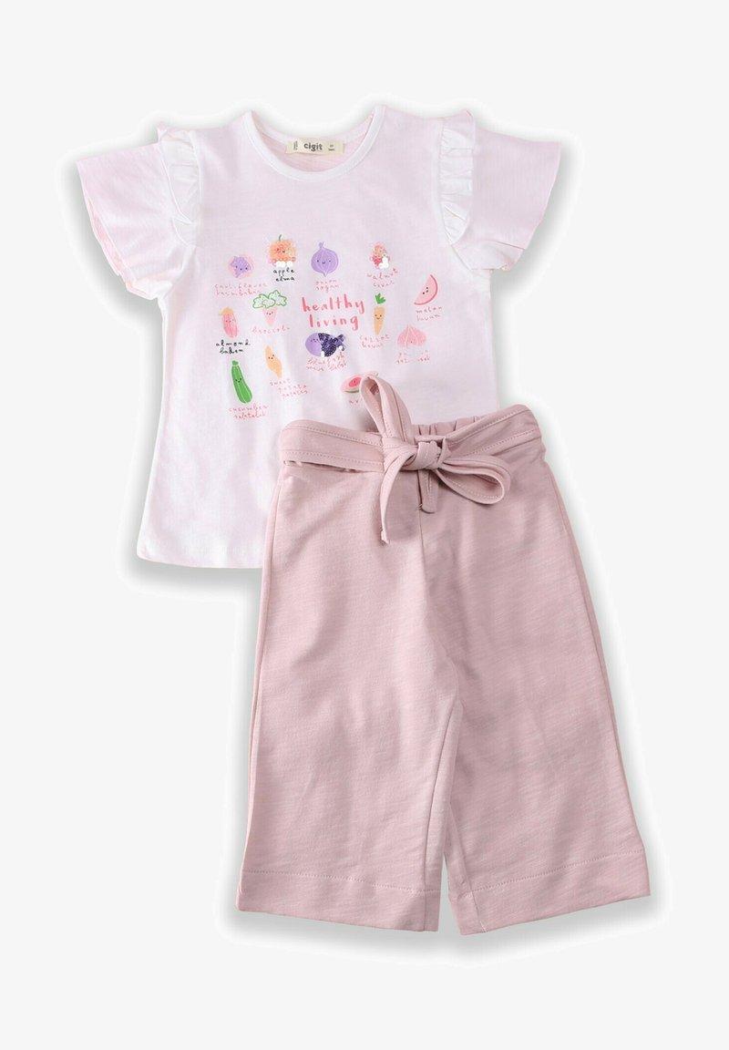Cigit - T-SHIRT AND CAPRI SET - Shorts - light pink