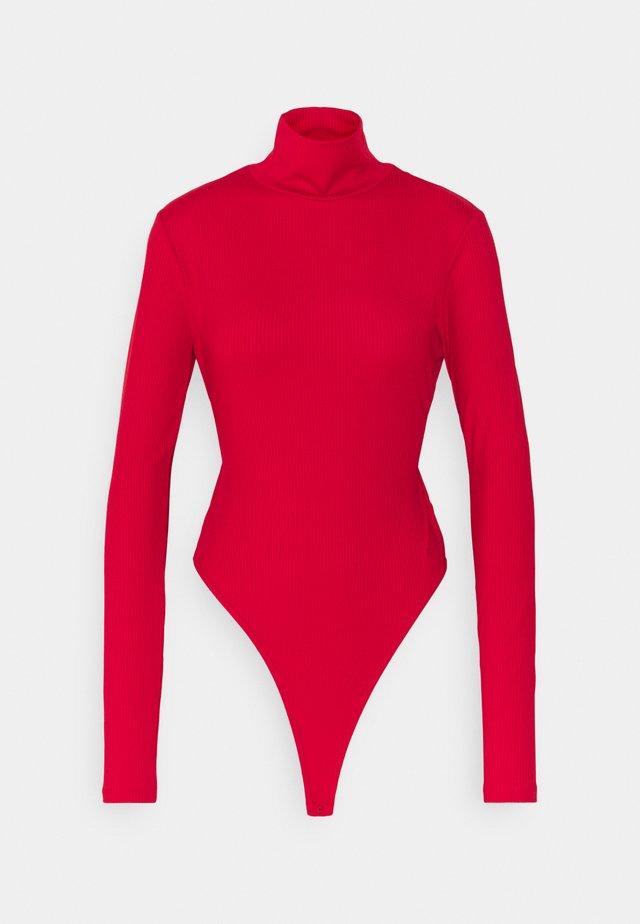 OPEN BACK HIGHNECK BODYSUIT - Long sleeved top - red
