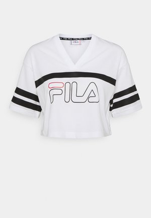 JAINA CROPPED SPORTY TEE - T-shirt con stampa - bright white