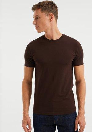 SLIM FIT - T-shirt basic - dark brown