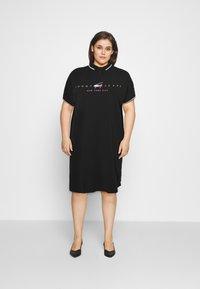 Tommy Jeans Curve - MODERN LOGO POLO DRESS - Day dress - black - 1