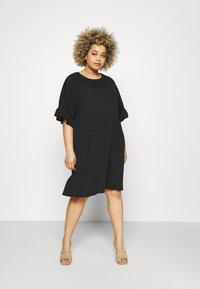 Missguided Plus - FRILL SMOCK DRESS - Day dress - black - 0