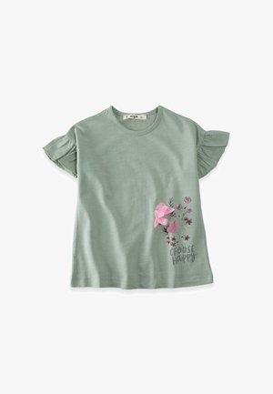 CHOOSE HAPPY  - Print T-shirt - metallic green