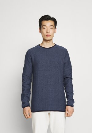 TWO TONE STRUCTURE O NECK - Stickad tröja - navy