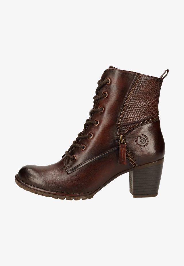 Lace-up ankle boots - mid-brown/reptile print 6483