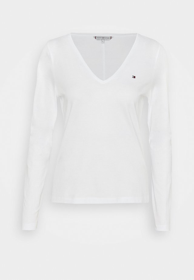 REGULAR CLASSIC V NECK  - Long sleeved top - white