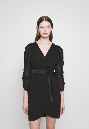 GATHERED SLEEVE MINI DRESS - Cocktailkjole - black