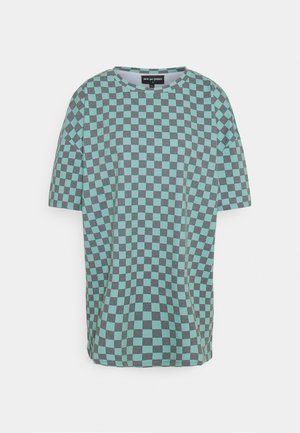 CHECKERBOARD TEE - Print T-shirt - black/teal
