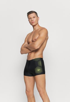TECH PLACEMENT AQUASHORT - Swimming trunks - black/fluo yellow