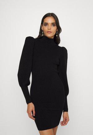 CALEB PUFF MINI DRESS - Gebreide jurk - black