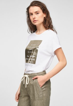Print T-shirt - white statement print gold