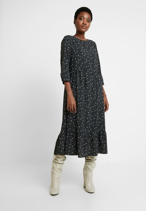 TIERED MIDI SPOT DRESS - Maxi dress - black/white