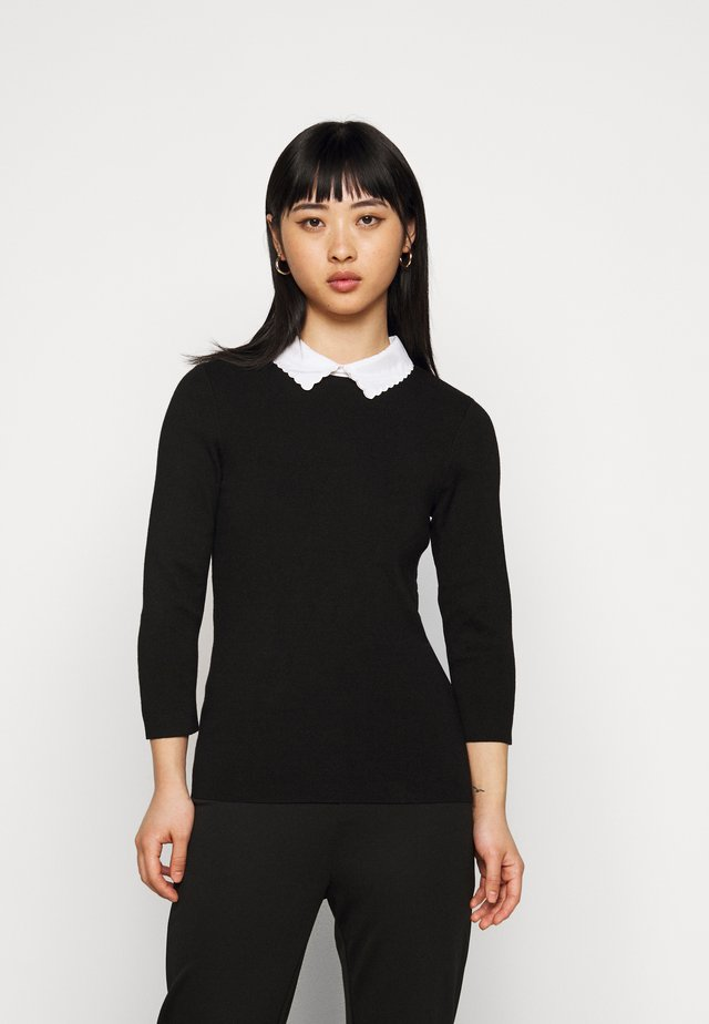 3/4 SLEEVE SCALLOP COLLAR JUMPER - Maglione - black