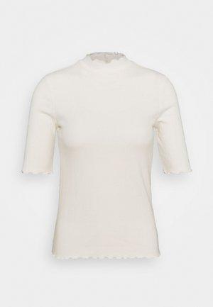 POINTELLE MOCK - Print T-shirt - white