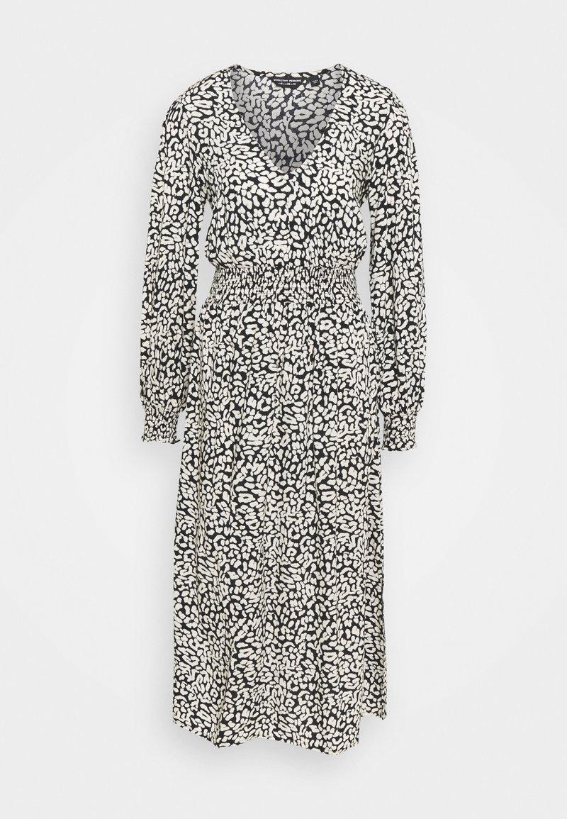 Dorothy Perkins - MONO ANIMAL SHIRRED WAIST MIDI - Day dress - black