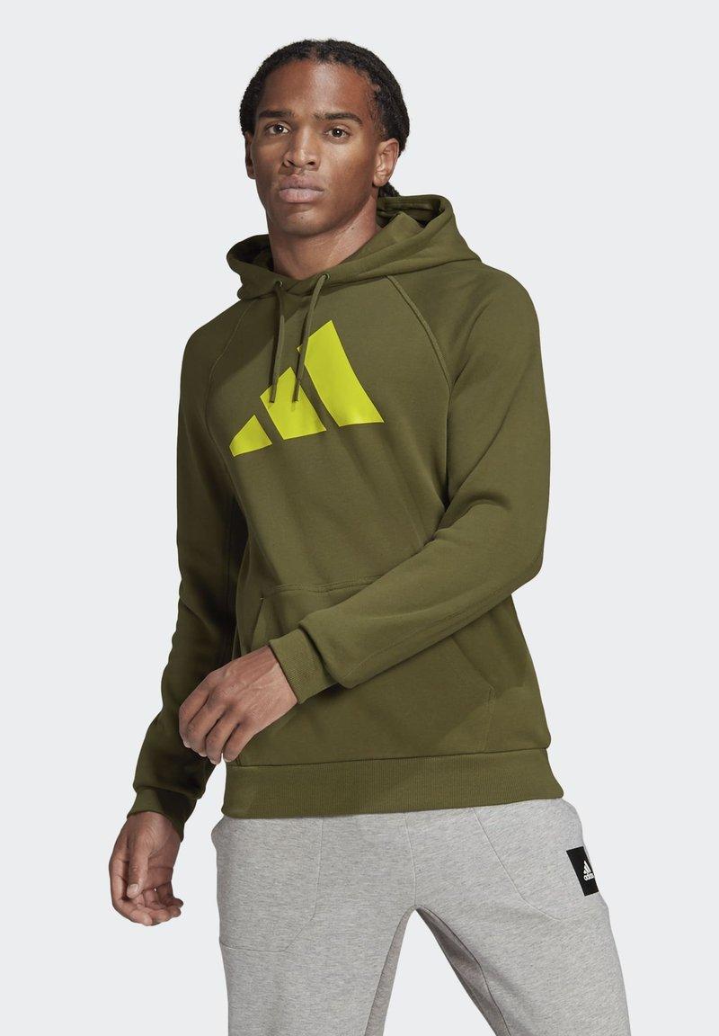 adidas Performance - FI HOOD BD MUST HAVES SPORTS RELAXED SWEATSHIRT HOODIE - Luvtröja - green
