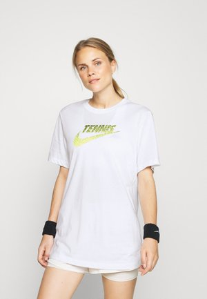 GRAPHIC - T-shirt imprimé - white/black/volt