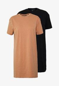 Missguided Petite - BASIC TSHIRT DRESS 2 PACK - Žerzejové šaty - black/tan - 4