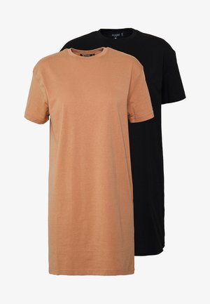 BASIC TSHIRT DRESS 2 PACK - Jerseykjole - black/tan