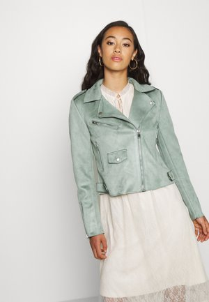 BIKER - Faux leather jacket - chinois green