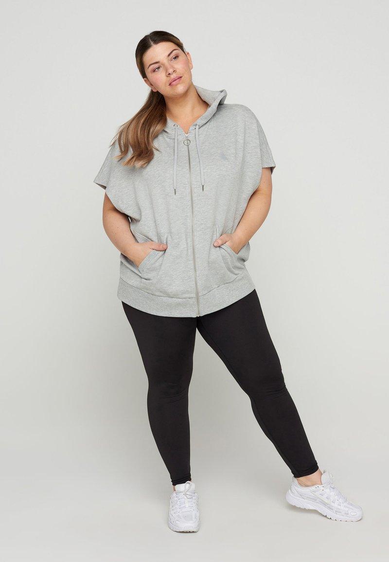 Active by Zizzi - Zip-up sweatshirt - light grey melange