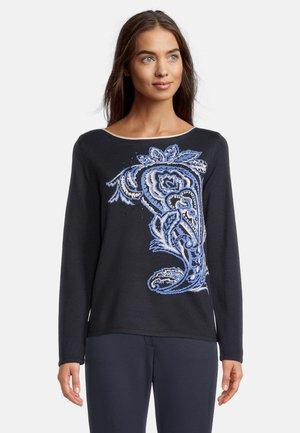 MIT INTARSIE - Pullover - dunkelblau/blau