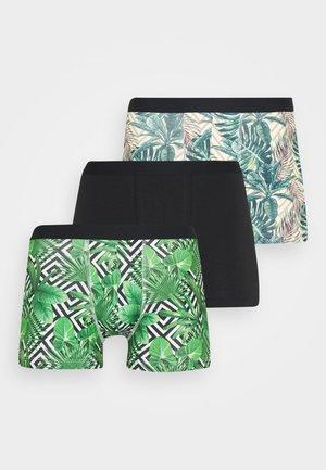 3 PACK - Pants - black/green