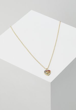 PRIDE RAINBOW PAVE SCULPTED HEART SLIDER NECKLACE - Necklace - gold-coloured