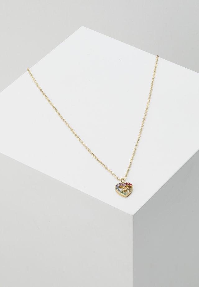 PRIDE RAINBOW PAVE SCULPTED HEART SLIDER NECKLACE - Kaulakoru - gold-coloured