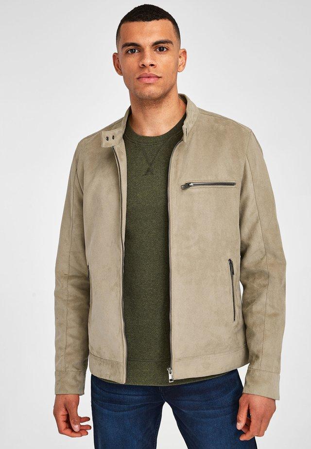 STONE FAUX SUEDE RACER JACKET - Summer jacket - beige