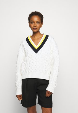 CROPPED V NECK CABLE JUMPER - Pullover - ivory