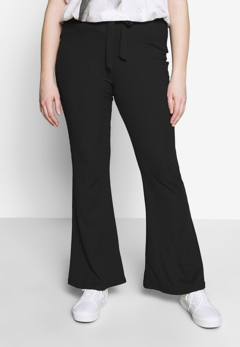 Missguided Plus - PLUS FLARE TIE BELT TROUSER - Kalhoty - black