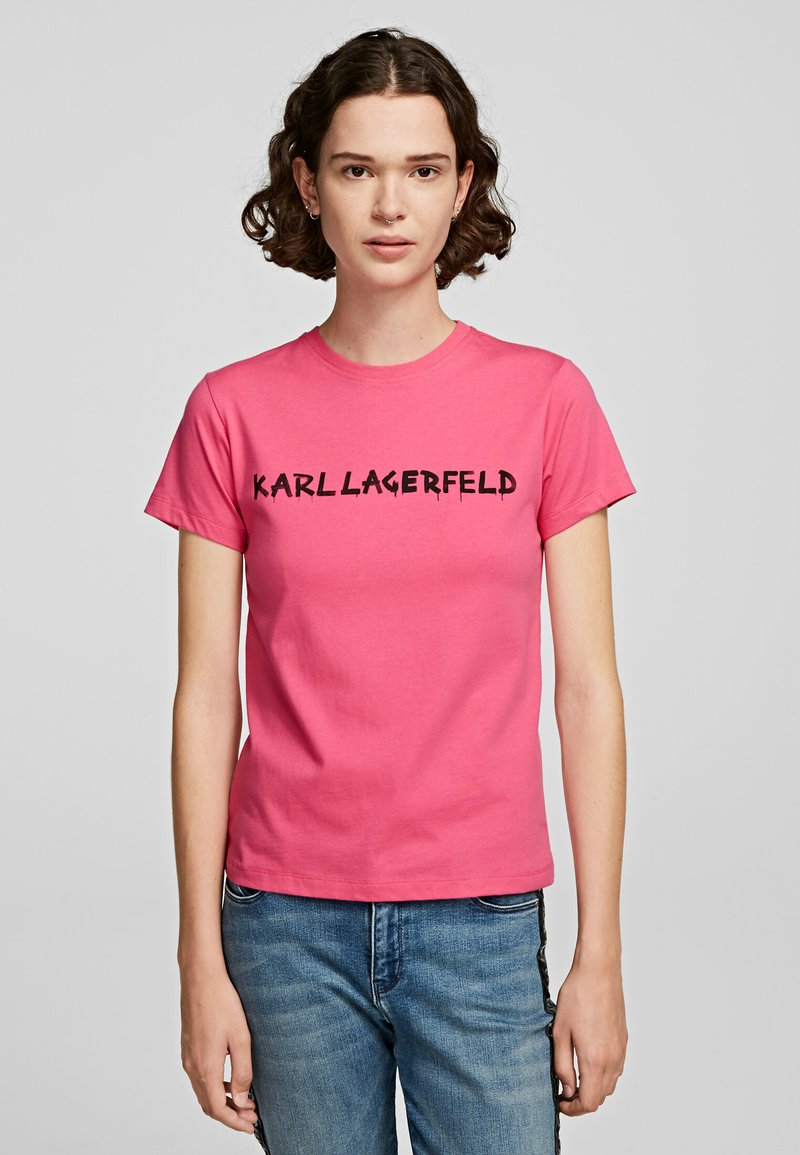 KARL LAGERFELD - T-Shirt print - fuchisa