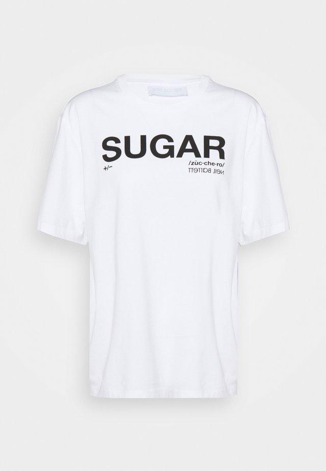 SUGAR - Triko spotiskem - white/black