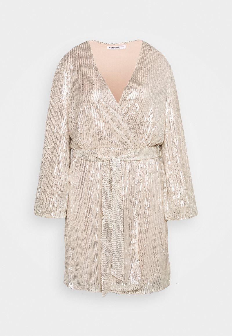 Glamorous Curve - VNECK WRAP DRESS - Cocktail dress / Party dress - nude/silver