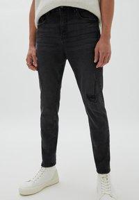 PULL&BEAR - Jeans slim fit - mottled black - 0