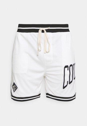 VARSITY BADGED MESH DROP CROTCH SHORTS - Shorts - off white