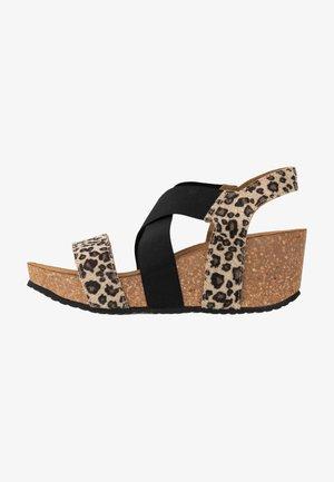 STACIA LEOPARD - Platform sandals - brown