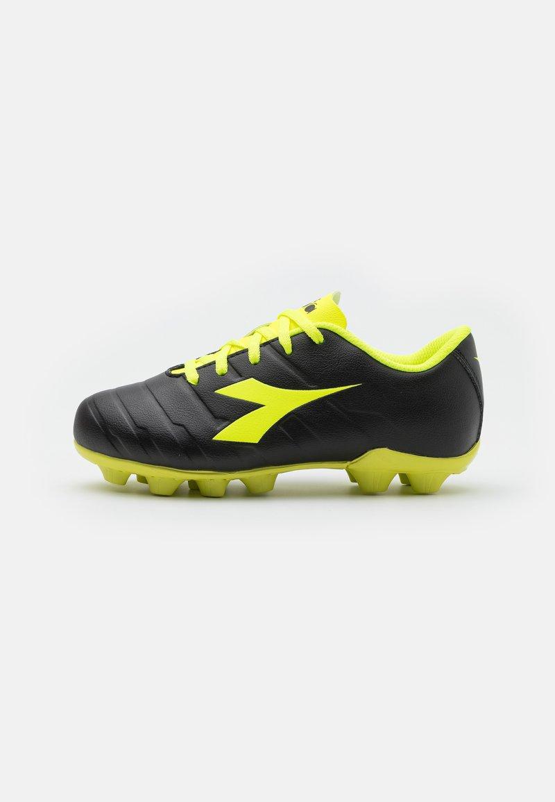 Diadora - PICHICHI 3 MD JR UNISEX - Moulded stud football boots - black/fluo yellow
