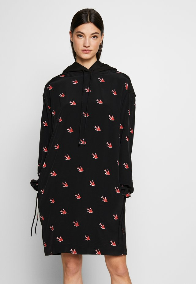 UMEKO HOODIE DRESS - Vapaa-ajan mekko - darkest black