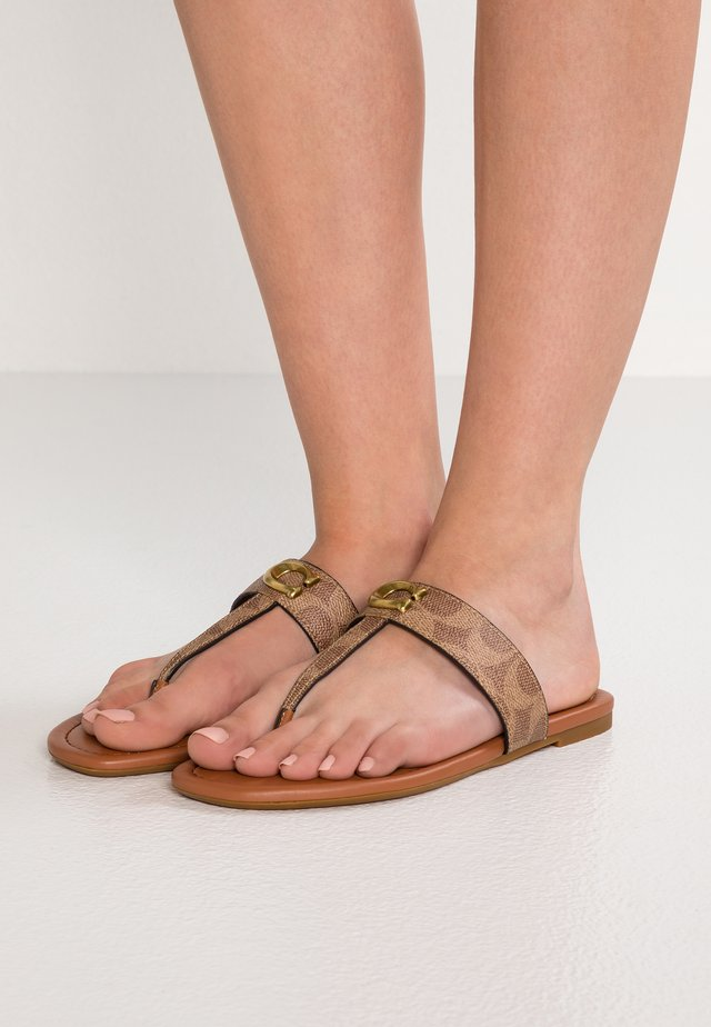 JESSIE - T-bar sandals - tan/dark brown