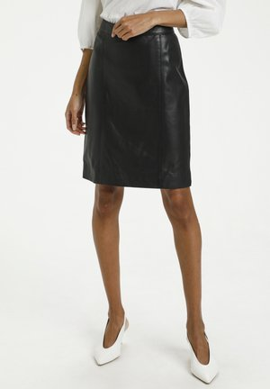 Leather skirt - black deep