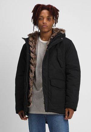 FAKE FUR HOODED - Winter coat - black